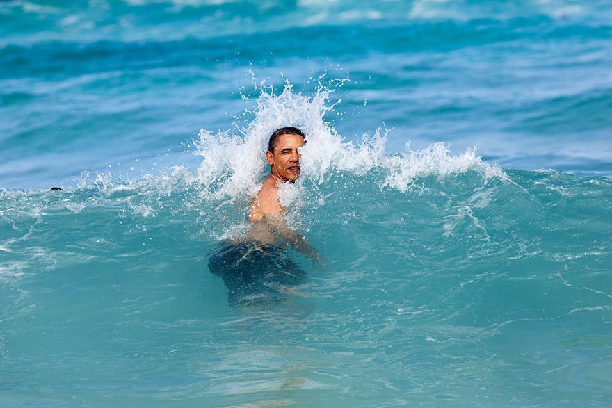 95-the-president-on-his-annual-christmas-vacation-swimming-at-pyramid-rock-beach-in-kaneohe-bay