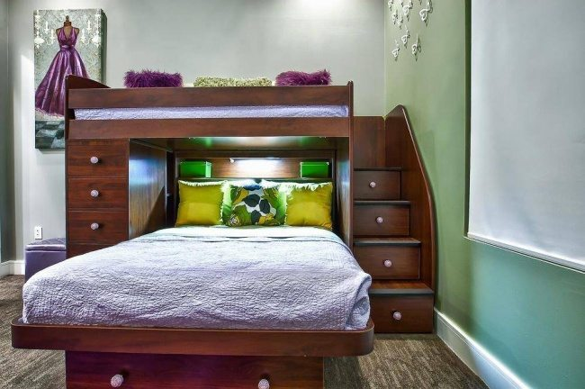 334455-interior-paint-color-with-wall-decor-and-teenage-bunk-beds-also-under-stair-storage-and-contemporary-bedding-with-carpet-and-drawer-pulls-650-f5732390a9-1484634161