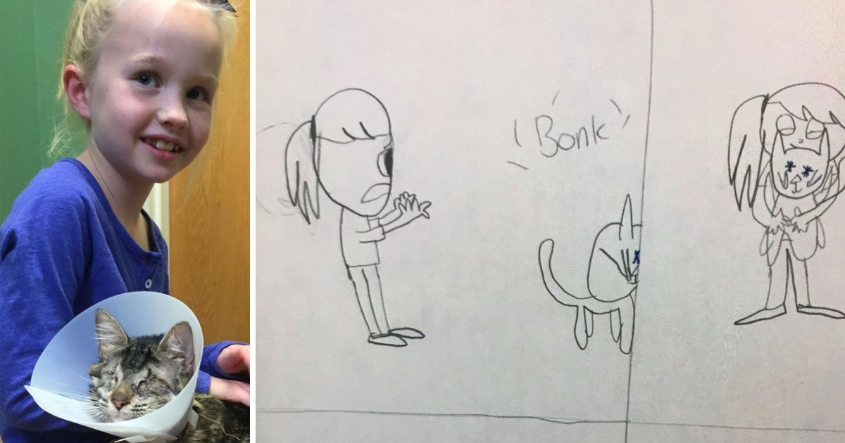8_year_old_draws_pictures_life_with_blind_cat_featured