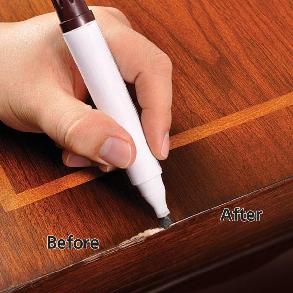 Here39s how to remove scratches from wood furniture for Furniture scratch repair kit home depot