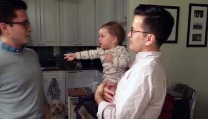 Dad introduces baby to his twin. It's gotten 22 million views because, well, just watch it