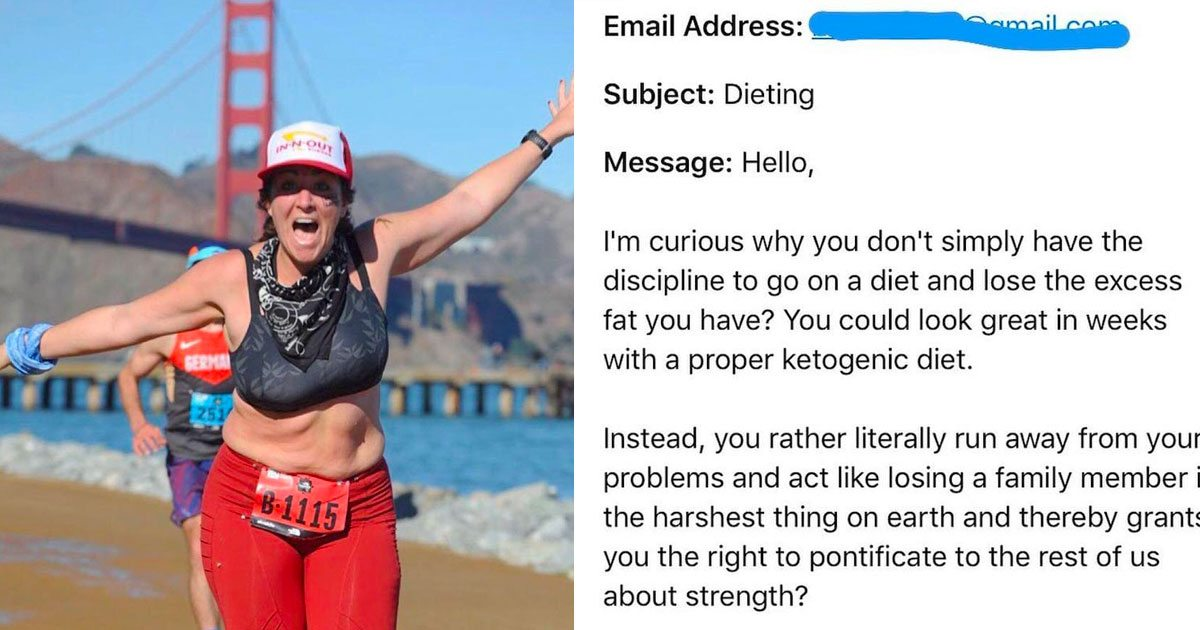 Fat shamed email reply marathoner featured