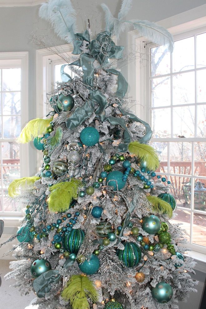 10 green and blue feather tree - Flocked Christmas Tree Decorating Ideas
