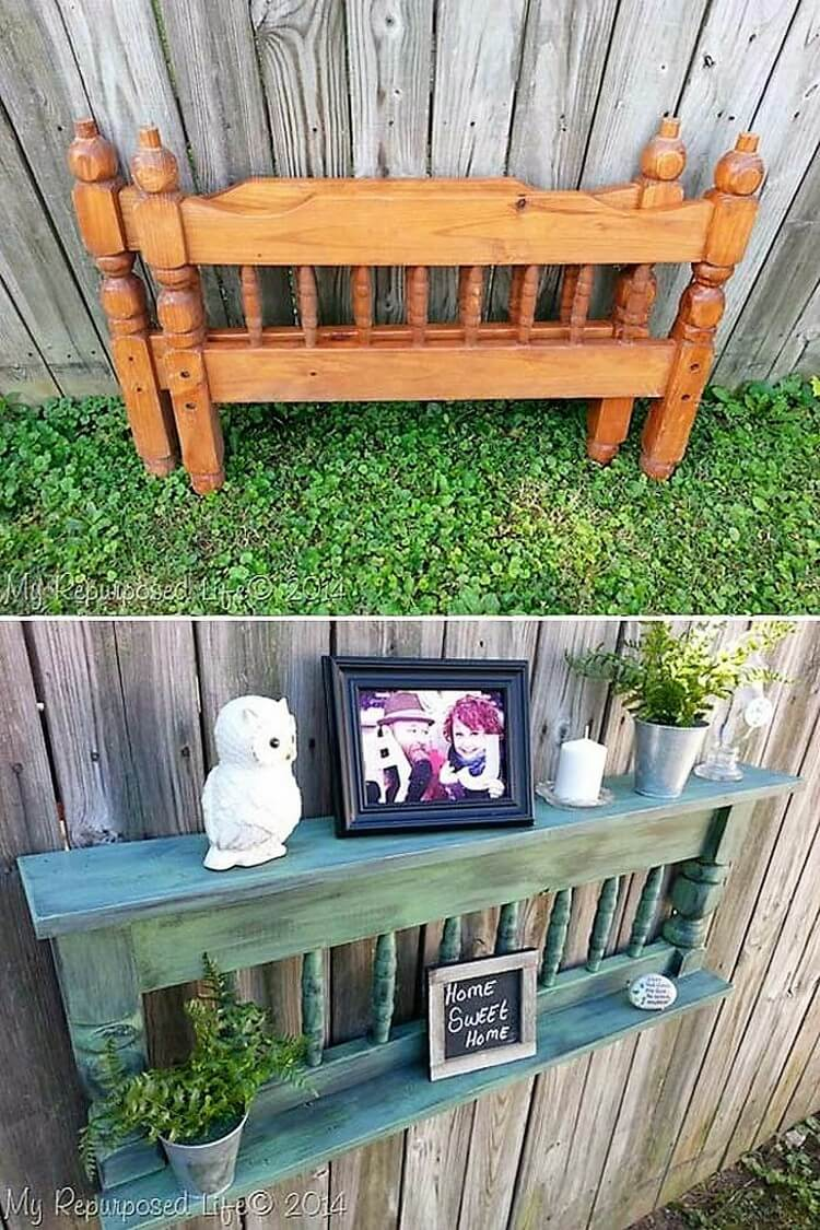 Dad Finds Old Headboard In Pile Of Junk Uses It To Create A Beautiful Piece For The Home