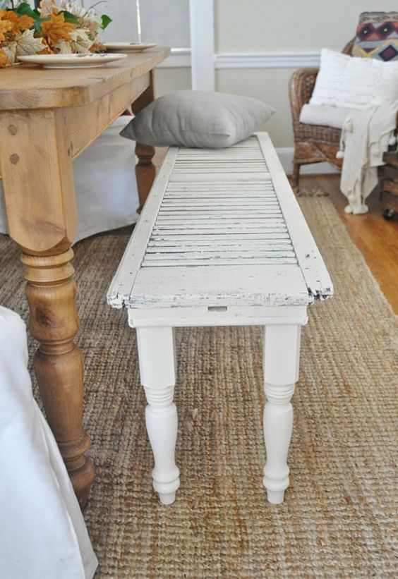 repurpose old shutter into a bench