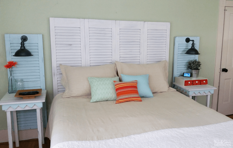 repurpose shutter into a headboard