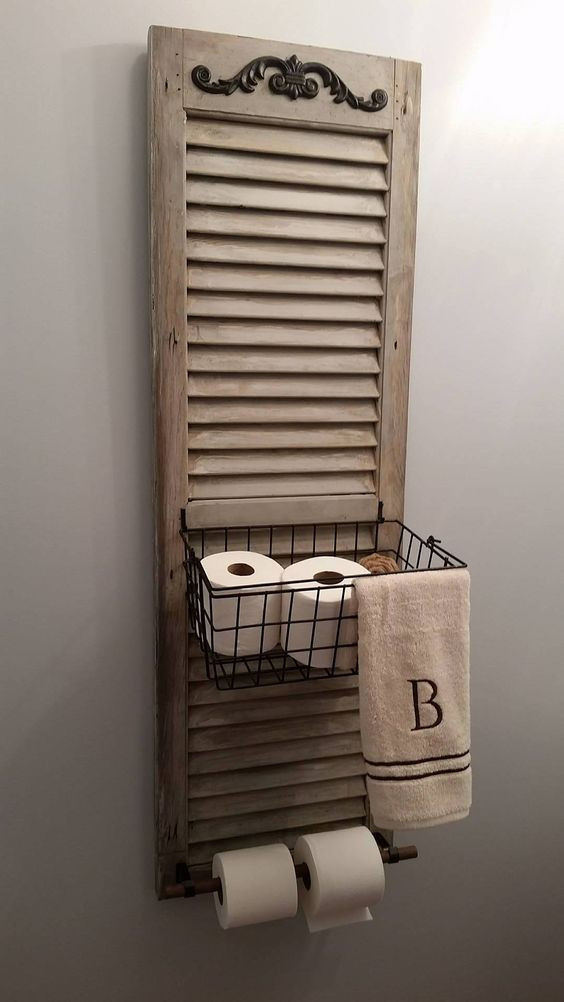 upcycle shutter into bathroom caddy