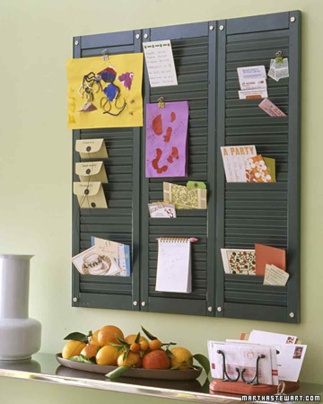 DIY command center shutter decor ideas