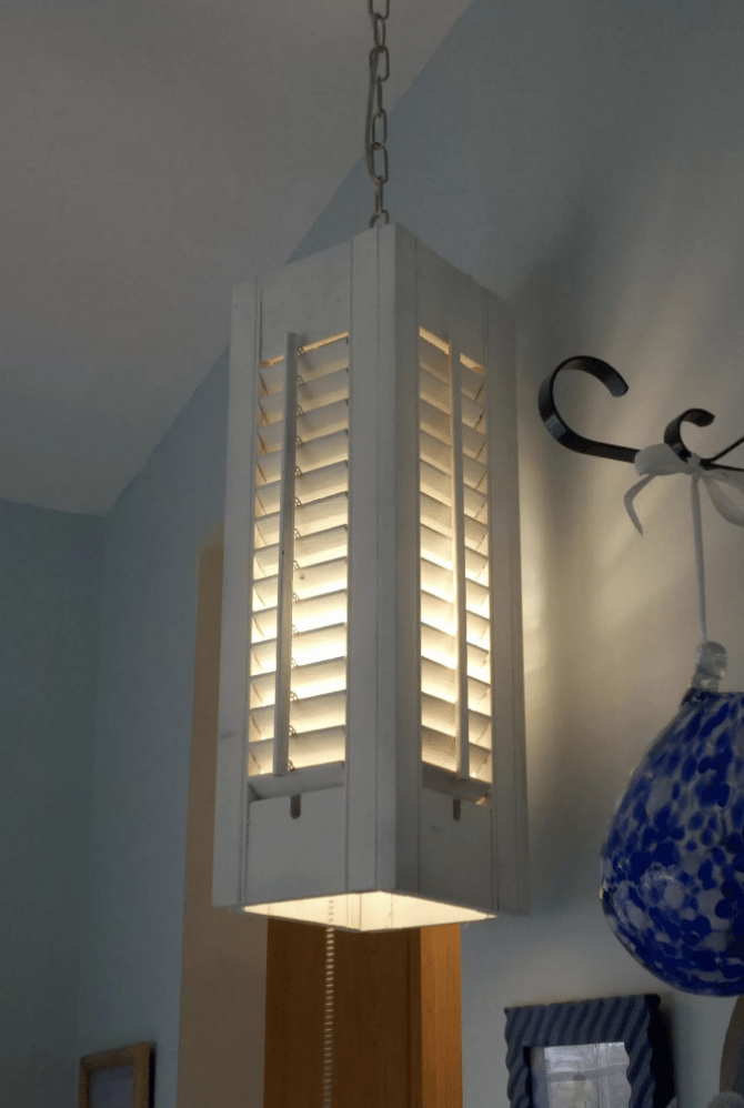 DIY wood shutter light to brighten your home