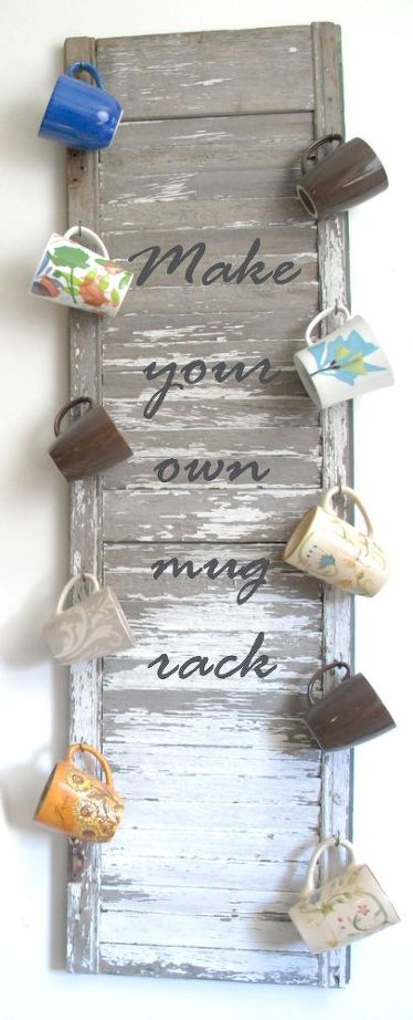 DIY mug rack from an old wood shutter