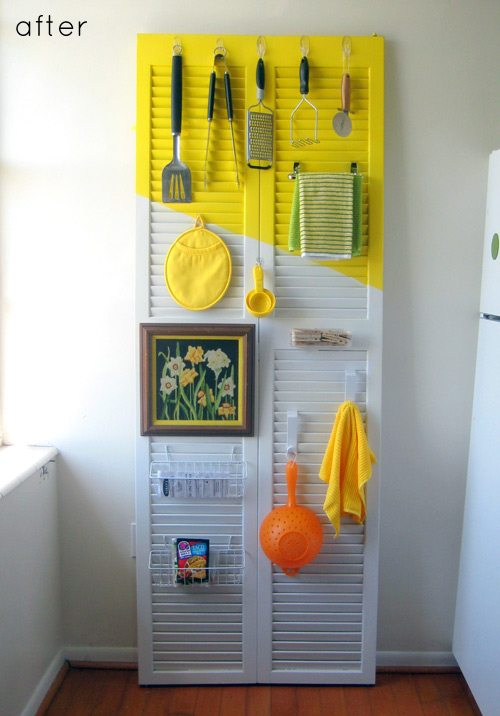 kitchen organizer from a repurposed wood shutter