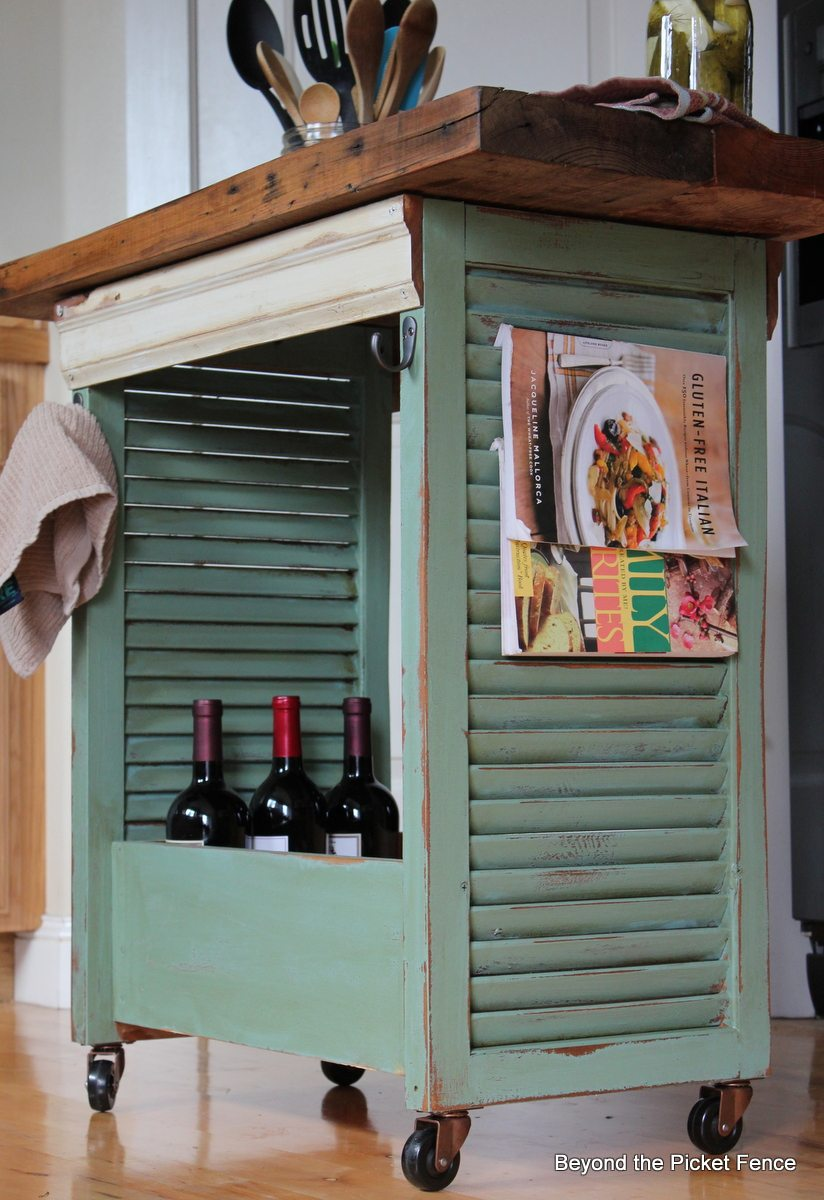 kitchen island made from an old wood shutter