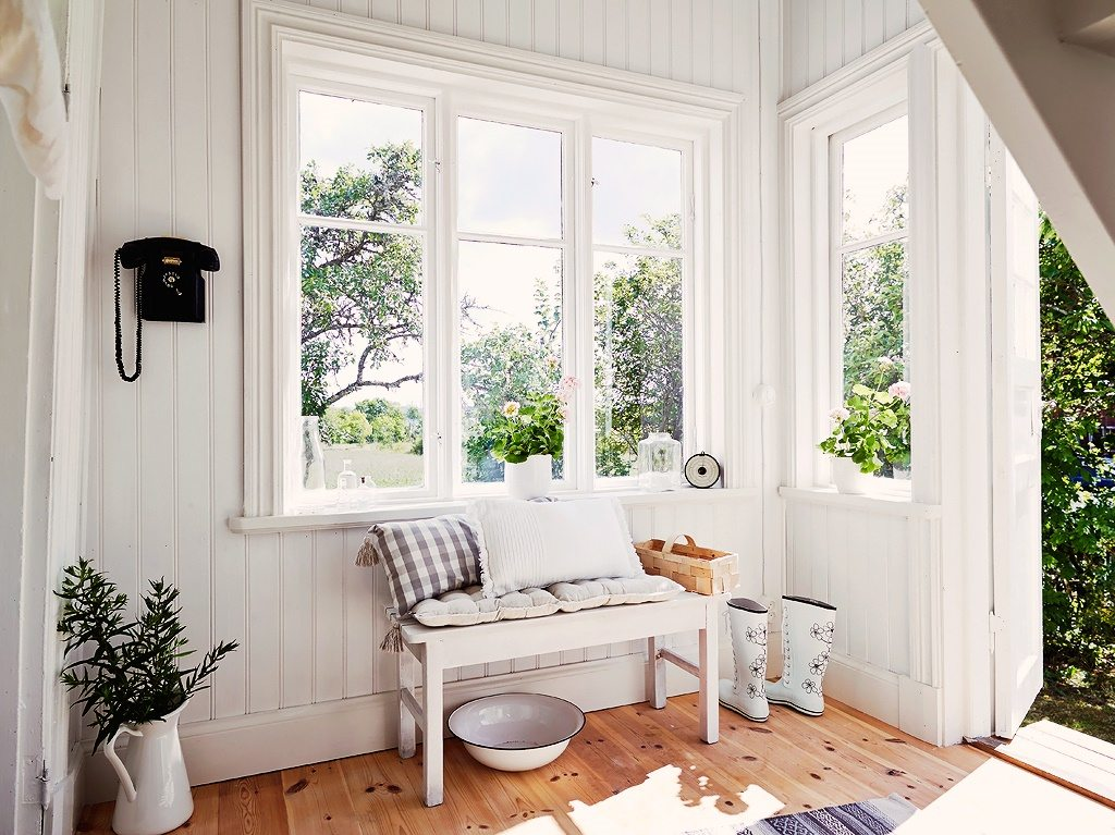 Swedish Cottage With All White Interior