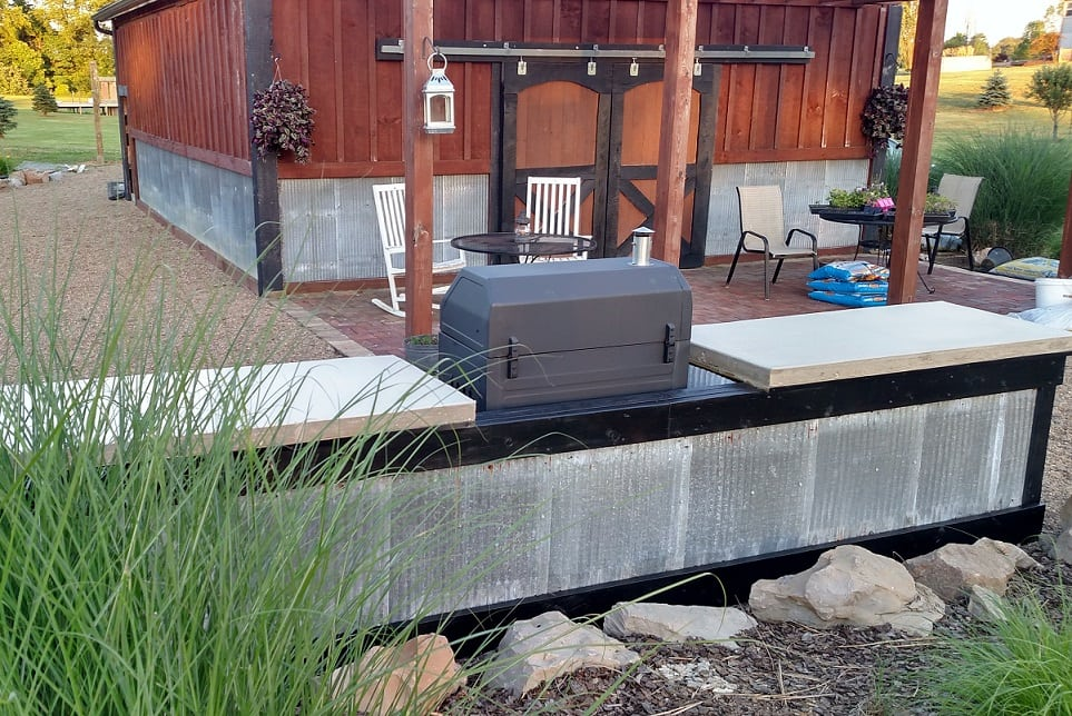 #6 DIY Concrete And Corrugated Steel Outdoor Kitchen