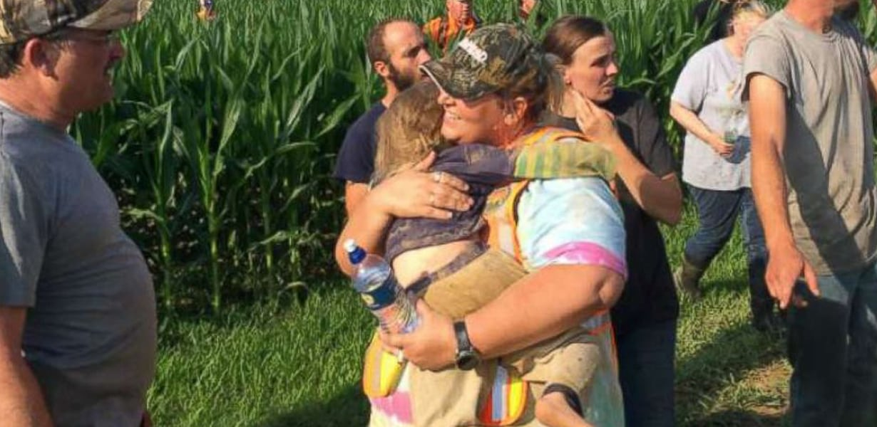 Police Find Missing Toddler Asleep In Cornfield— Hearts Race When They Realize She's Not Alone