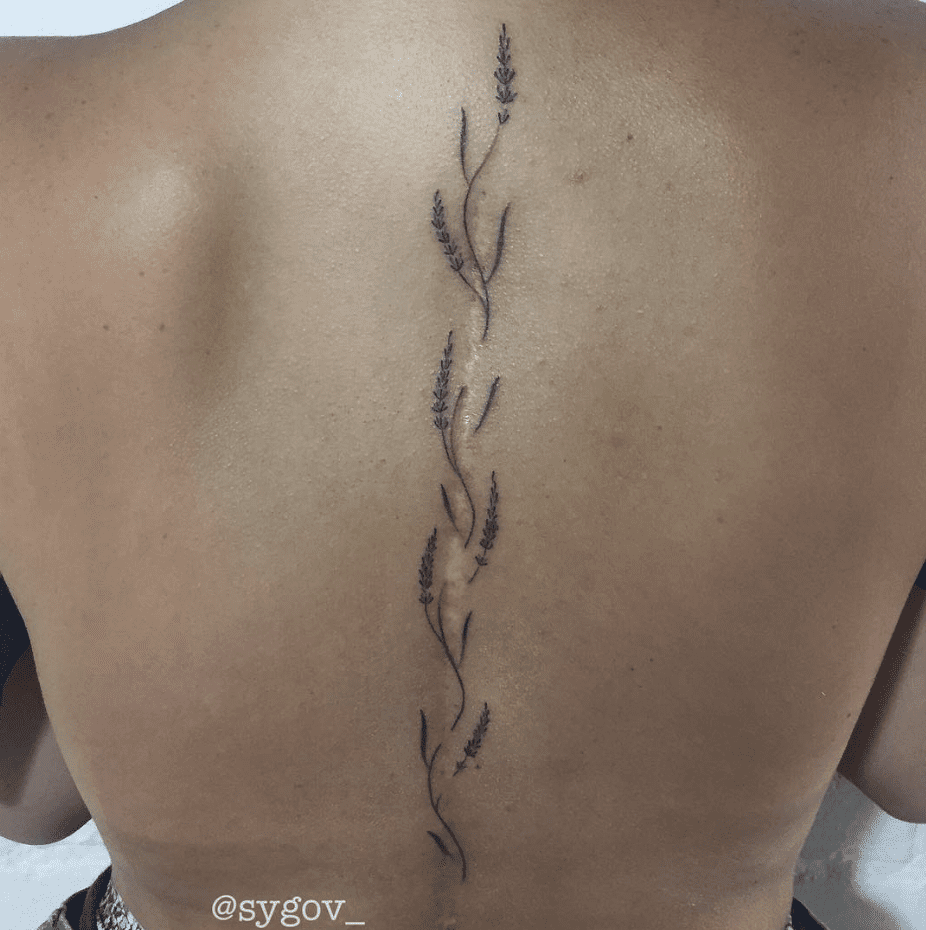 Vertical Spine Font Tattoos Men: 60+ Gorgeous Tattoos That Transform Scars And Birthmarks