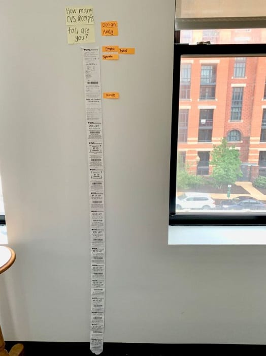guy replaces a broken blind with a really long cvs receipt