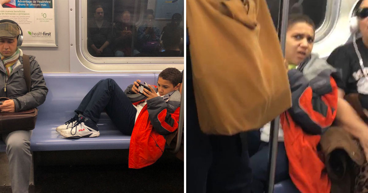 Kid Refuses To Move So Man Just Plops Down On His Legs