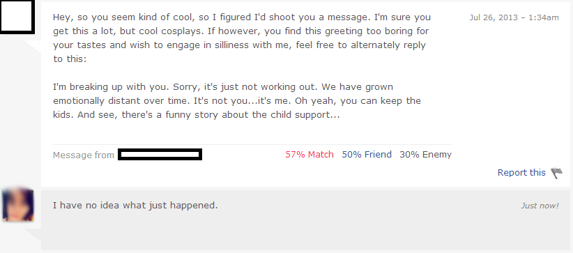 50 first message fails for online dating