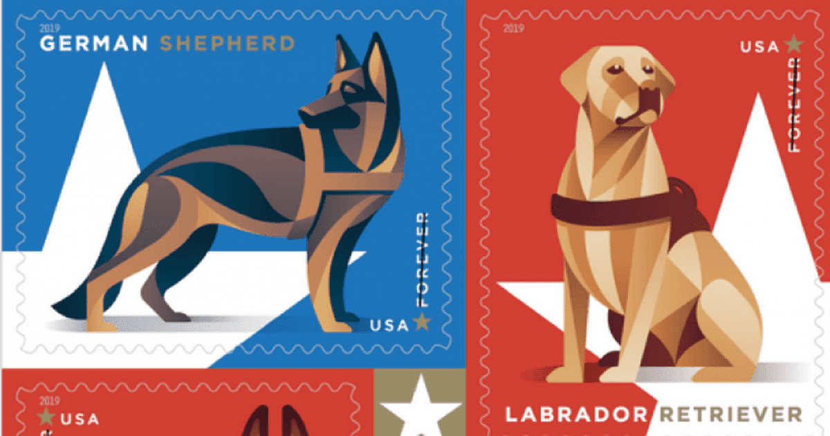 The Post Office Released A Set Of Stamps Honoring Military Dogs