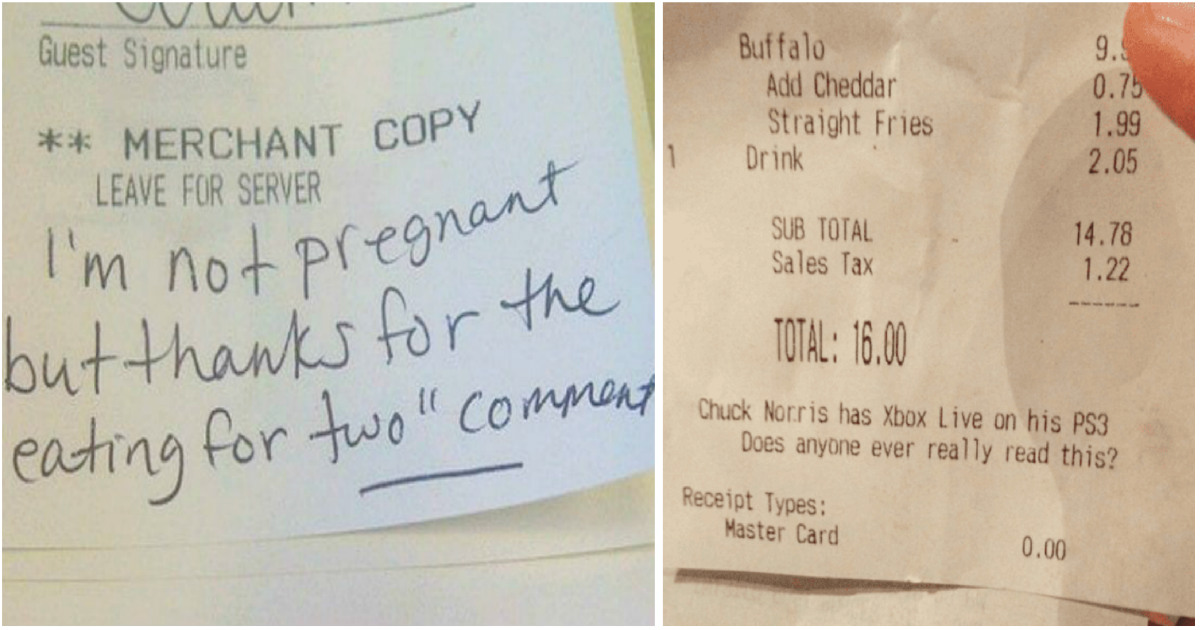 50 outrageous notes on restaurant receipts