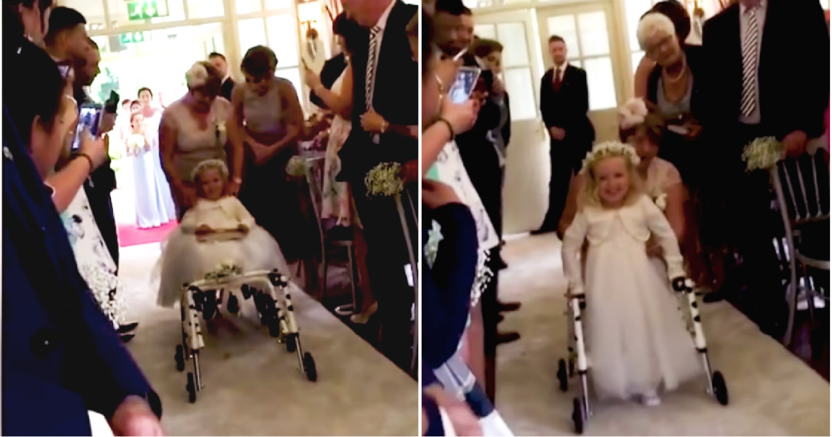 4-year-old Girl Takes Her First Steps During Moms Wedding