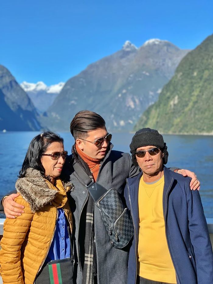 Jayvee with his Adopted Parents on a Holiday
