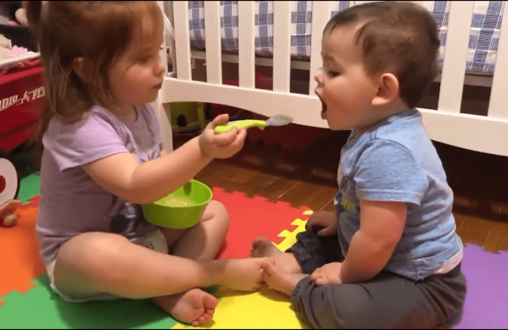 Baby Brother Loves Being Fed By His Toddler Sister