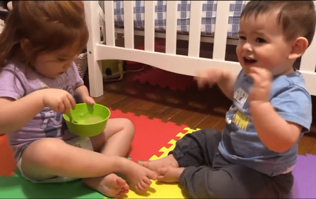 Baby Brother Gets Happy After Being Fed by His Toddler Sister
