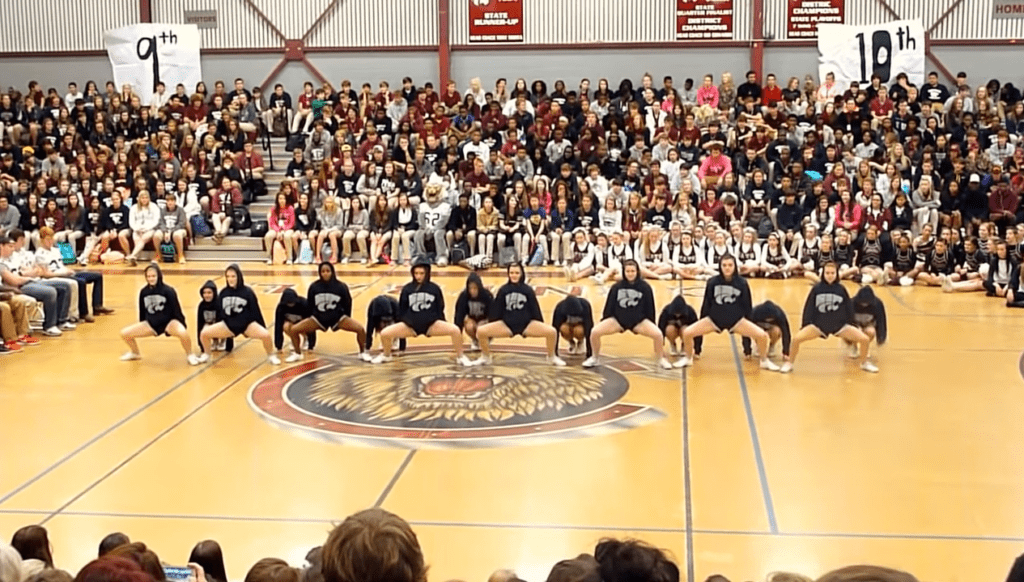 Central High Varsity Cheerleading Squad Dances Pep Rally