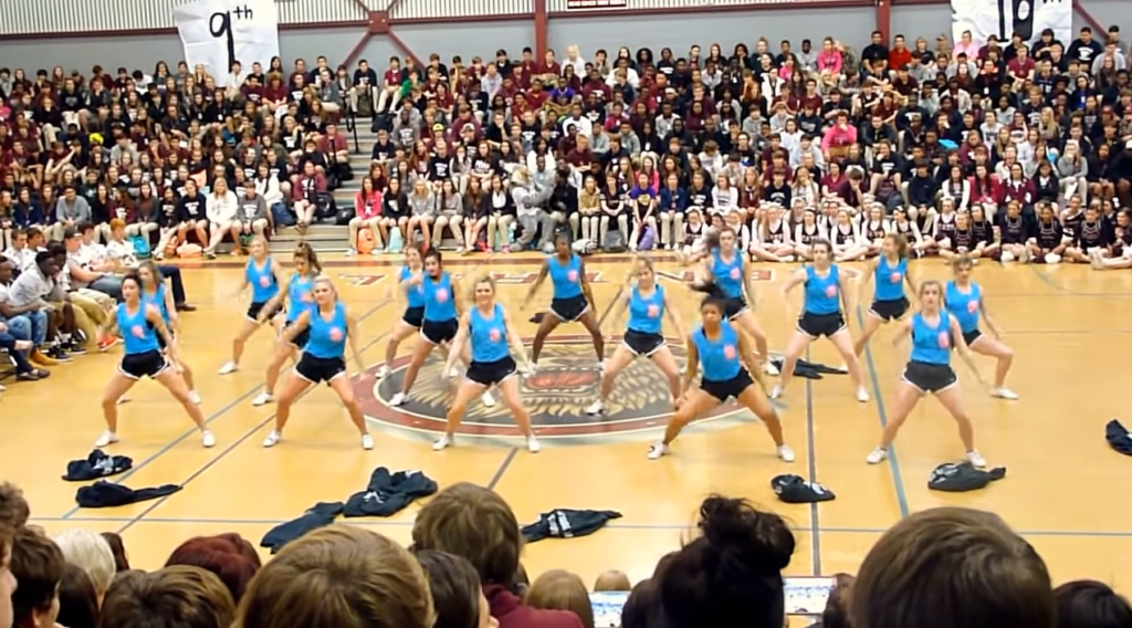 Central High School Cheerleading Squad Girls Throws Off thier Uniforms