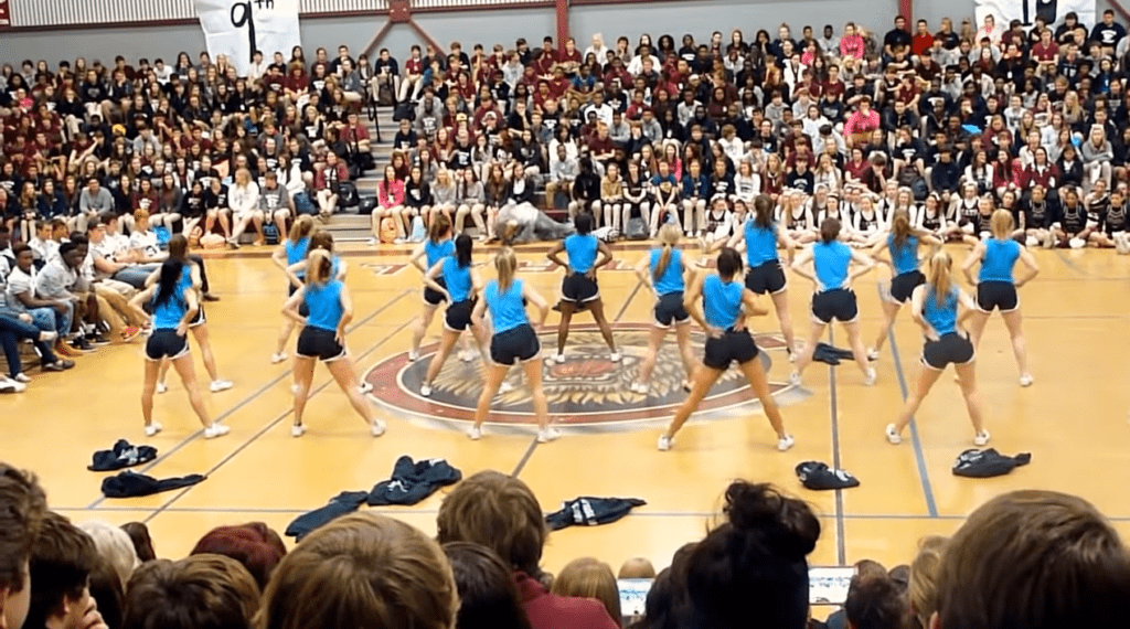 Central High School Cheerleading Squad Girls Gives a Hip Move