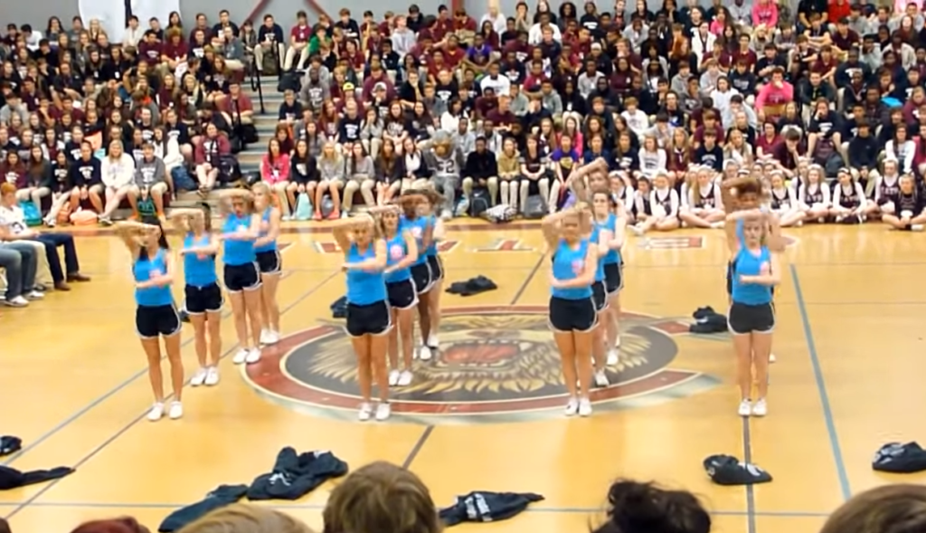 Central High School Cheerleading Squad Does the Hand Move