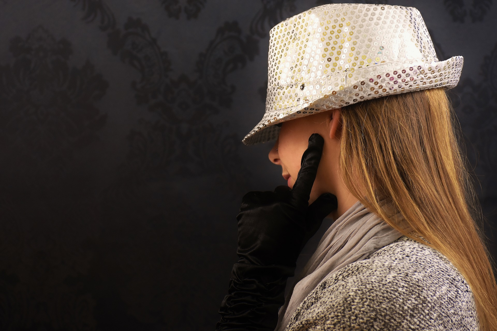 https://pixabay.com/photos/woman-hat-sequins-chic-gloves-2060059/