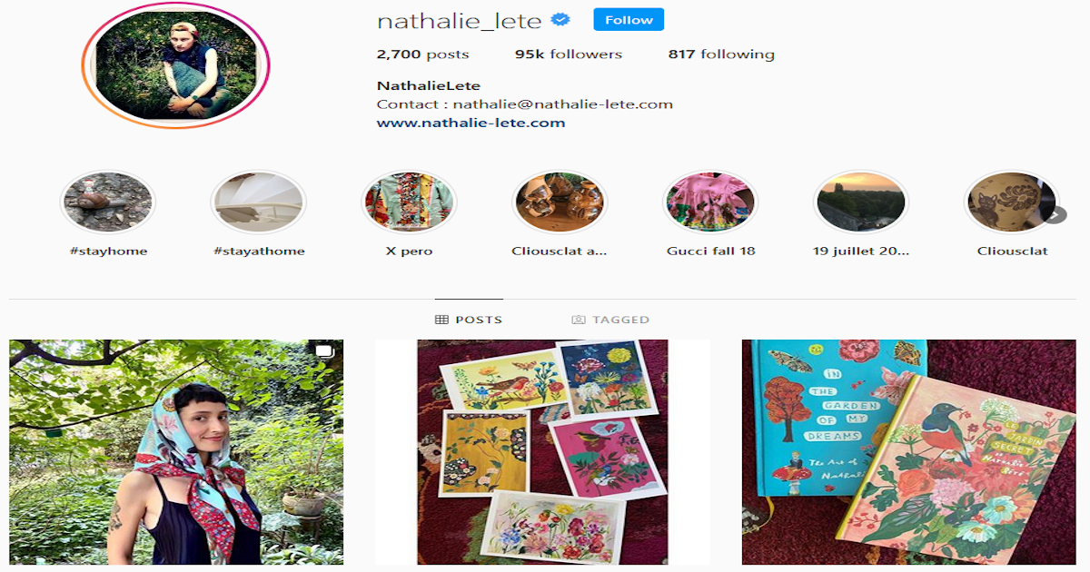 A screenshot from Nathalie's Instagram page