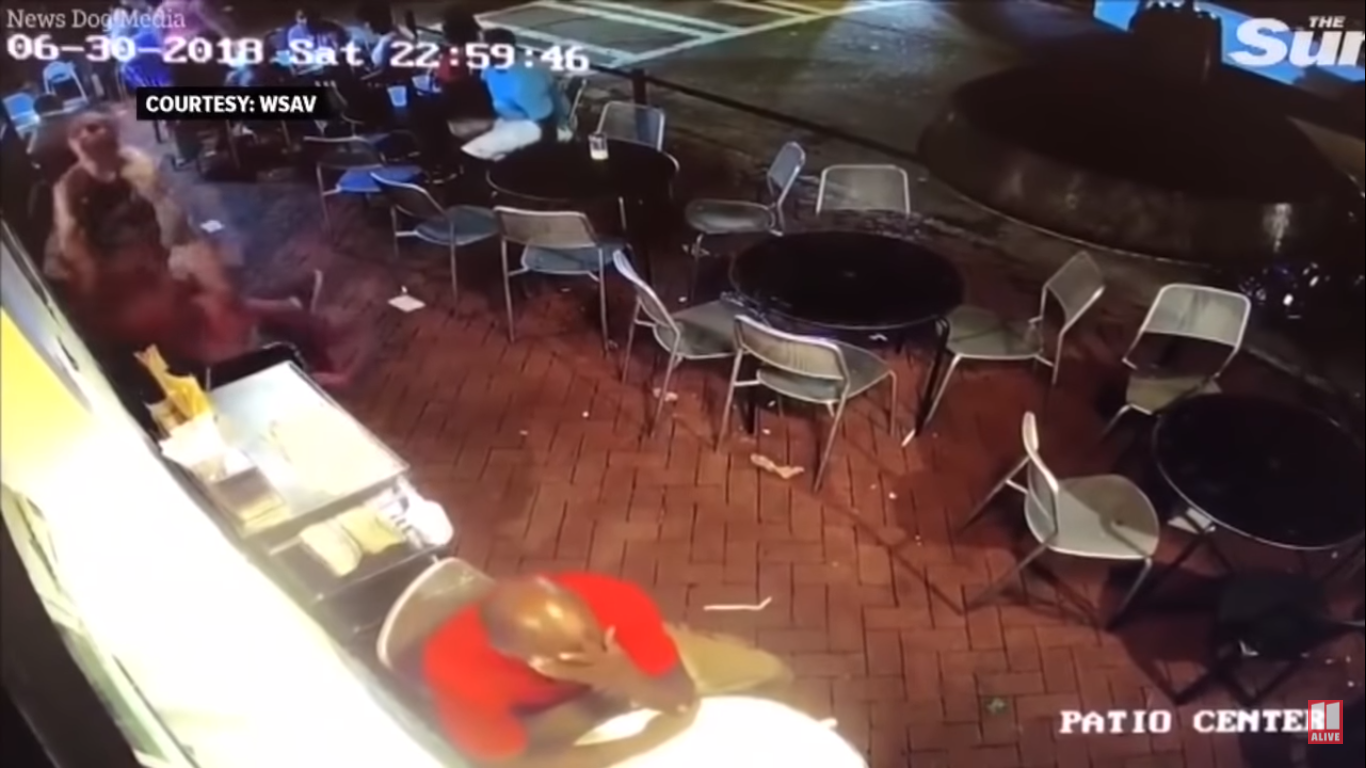 waitress slams man to ground