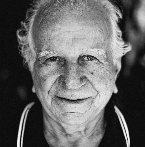 blank and white photo old man